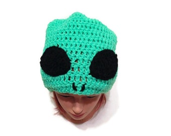 Green Alien Hat Alien Slouchy Hat Alien Novelty Hat Blacklight Reactive Alien Silly Beanie Science Fiction Hat Space Alien Hat