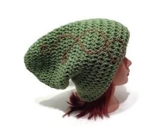 Green Elven Hat, Slouchy Elf Hat, Pointed Pixie Hat, Wood Elf Beanie, Elven Cosplay, Brown Scrollwork Hat, Wood Elf, Renaissance Hat, Elves