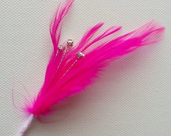 Hot Pink Feather Sprig With 3 diamantes