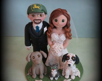Wedding Cake Topper, Custom Cake Topper, Bride and Groom, Three Pets, Personalized, Polymer Clay Keepsake