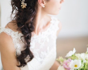 Floral Bridal Comb, Ivory Flora Hair Piece, Crystal Bridal Headpiece, Ivory Bridal Headpiece FELICIA