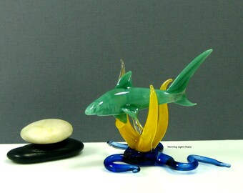 On Sale! Glass Shark Sculpture - Lampwork Sea Life Art  - Artisan Crafted Home Decor