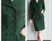 1940s Suit // SA Barker Co. Dark Green Suit // vintage 40s suit