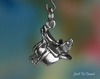 Sterling Silver Side Saddle Charm Horse Lady Sidesaddle 3D Solid .925