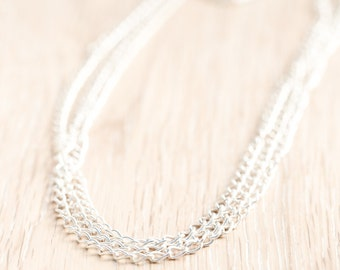 Silver Choker, Curb Chain Necklace, Silver Plated Brass, Lightweight Continuous Loop Bracelet Jewelry / Jewellery, 3/5mm Links x 4pc