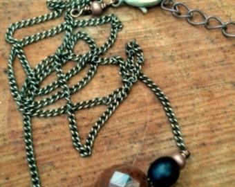 Red Jasper Gemstone Necklace with Black seeds - Horizontal Copper