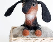 Dachshund Felt Toy - Arsenio, Black Sausage Dog Puppy Art toy Marionette for kids Felted plush Puppet Marionette Halloween Gift.  brown fall