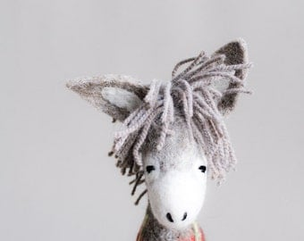 Dominick - Felt  Donkey. Art Toy. Organic toy. Felted Toys. Felt animals. Marionette. Animals. Felt Toy. grey gray red green. MADE TO ORDER.