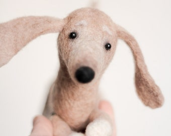 Francesca - Dachshund,  Art Toy, Lovely Dog, Felted Stuffed Toy,  Felt animal, Sausage dog. tan, caramel. Special order for  Jacqueline .
