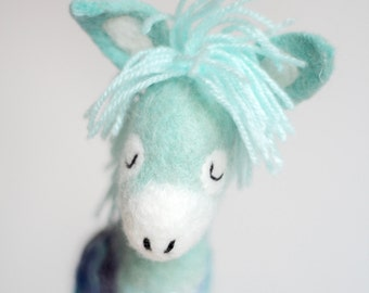 Felted Donkey - Jansen. Small Felted toy, Felt Animals, Felt toy, Marionette gift for kids Stuffed baby shower gift  nursery decor toy