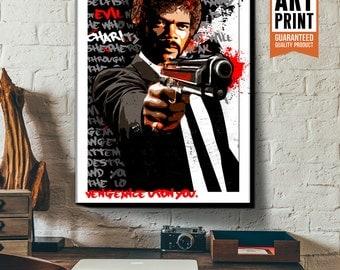 Pulp Fiction - Jules Winnfield -Samuel L Jackson, Canvas Art Print, Fan Art Illustration, Pop Art, Pulp Fiction Poster, Movie Quote art