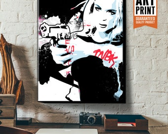 FEMME FATALE, street art, graphic novel style portrait illustration, Poster size, Canvas Art print available in 18x24 or 24x36.