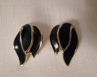 BLACK ASYMMETRICAL EARRINGS / Pierced / Studs / Posts / Enamel / Gold / Chic / Modernist / Art Moderne / Designer-Inspired / Accessories