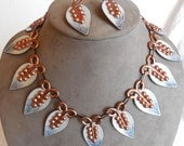 Enameled Copper MATISSE RENOIR Choker Necklace & Clip On Earrings Set