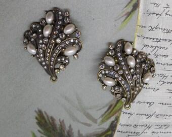 HEIDI DAUS 'Fan-Tastic' Swarovski Crystal & Faux Pearl Clip On Earrings