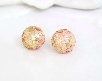 Vintage Pink and Gold Round Post Earrings - Wedding, Bridal, Bridesmaid,