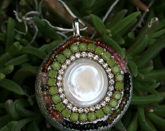 Jeweled Coin Pearl and Tourmaline Encrusted Pendant Rhinestones in Silver-Vintage Rhinestone Crystals-Apple Green
