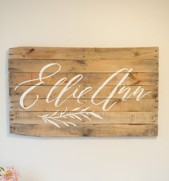 Custom calligraphy baby name foraged wood sign nursery
