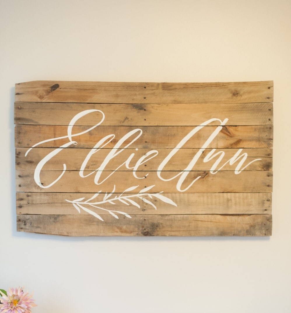 Custom calligraphy baby name foraged wood sign nursery