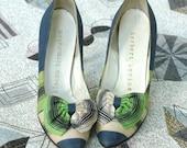 6, 6.5 50s heels, HERBERT LEVINE Shantung Striped Stilettos with Perky Bows