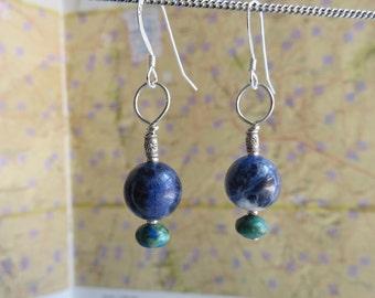 sodalite earrings . PLANET EARTH . azurite earrings . blue earrings . denim earrings . gemstone earrings . Virgo earrings . silver earrings
