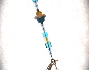 Cupcake , Moon & Crystal Ornament Blue Hanging Beaded Crystal Feng Shui Sparkles Crescent Moon California Blue
