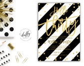 Black & Gold 30th Birthday Invitation, Hello Thirty Birthday Invite, Gold Confetti Invitation, Thirty Invite, Girls Night Out, 5x7 Printable