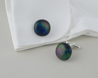 Fused glass cufflinks, peacock blue and green dichroic glass cuff links