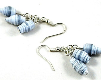 Handmade Paper Bead Earrings White and Silver Striped Pastel Tones Recycled Jewellery