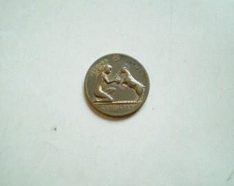Vintage Capricorn Coin - Good Luck Charm - Metal - Zodiac Astrology Horoscope December 23 January 20