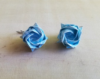 Blue Origami Rose Earrings, Origami Jewelry, Flower Earrings, Asian Earrings, Paper Jewelry, Birthday, Anniversary, Wedding Gift