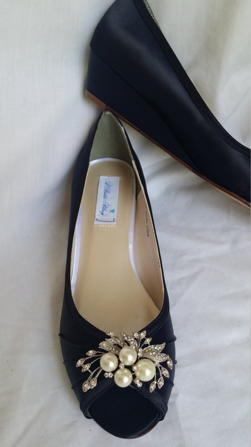 Wedding Shoes Black Wedge Shoes Bridal Wedges with Crystal and