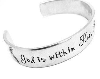 God is Within Her Hand stamped cuff bracelet