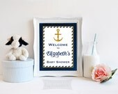 Baby Shower Welcome Sign, Personalized Baby Shower Welcome Sign, Navy Blue and Gold Anchor, PRINTABLE