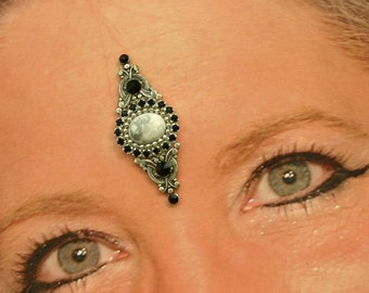 Genuine Howlite Bindi in Oxidized Silver