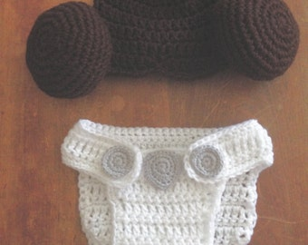 Princess Leia baby outfit photo prop/costume, hat and diaper cover, babyshower gift, handmade