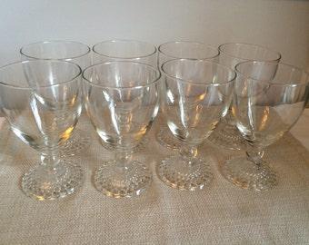 Vintage Set of 8 Wine or Water Glasses
