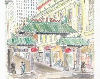 City watercolor print.  Chinatown Gate, San Francisco CA.