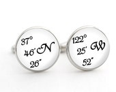 Custom Coordinates Mens Gift, Personalized Cufflinks, Latitude Longitude GPS Coordinates, Silver Cufflinks, Gift for Fiance, Gift for Him