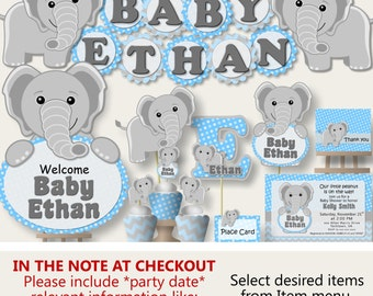 Elephant Baby Shower Decorations Boy Or 1st First Birthday Party,  Invitation, Banner, Decoration