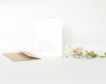 4 Bar Card with Envelope, Handwriting, A Smile Under Your Nose