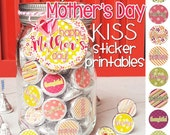 MOTHER'S DAY Chocolate KISS Mason Jar Gift Set with Tag & Topper, Gift or Treat - Printable Kiss Stickers - Instant Download