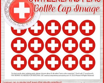 SWITZERLAND FLAG Bottle Cap Image, Swiss Flag Printable, Inchie, 1-Inch Circle, Digital Collage, World Flags - Printable Instant Download