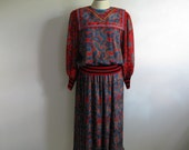 Vintage 1980s 2 pc Dress DIANE FREIS Red Black Purple Georgette Paisley Diane Fres Dress Large