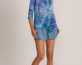Green winter top, semi sheer blouse, blue print loose fit shirt, 3/4 sleeve length, collar blouse, blue oversized shirt, jungle printed top