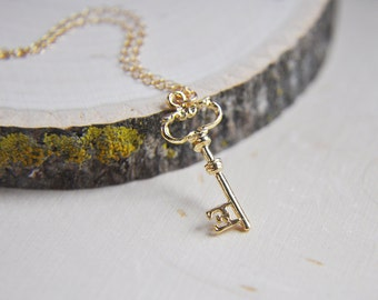 Key Necklace, Gold Key Necklace, Key to my heart, 14k gold filled necklace, Love Necklace, Gifts for her, Skeleton Key, Good Luck Charm