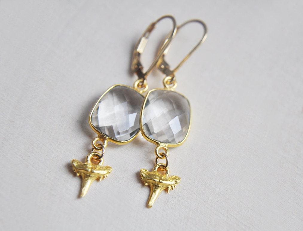 shark earrings shark tooth earrings quartz earrings