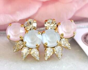 Rose Quartz Serenity Earrings,Swarovski Cluster earrings,Pastel Earrings,Bridal Serenity Rose quartz Earrings,Bridesmaids Swarovski Earrings