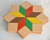 Star Wood Trivet Pot Coasters Vintage 60's, 70's