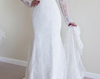 Alencon Lace Wedding Dress, Long Sleeves Wedding Dress, V-neckline Wedding Dress, Low Open Back Wedding Dress